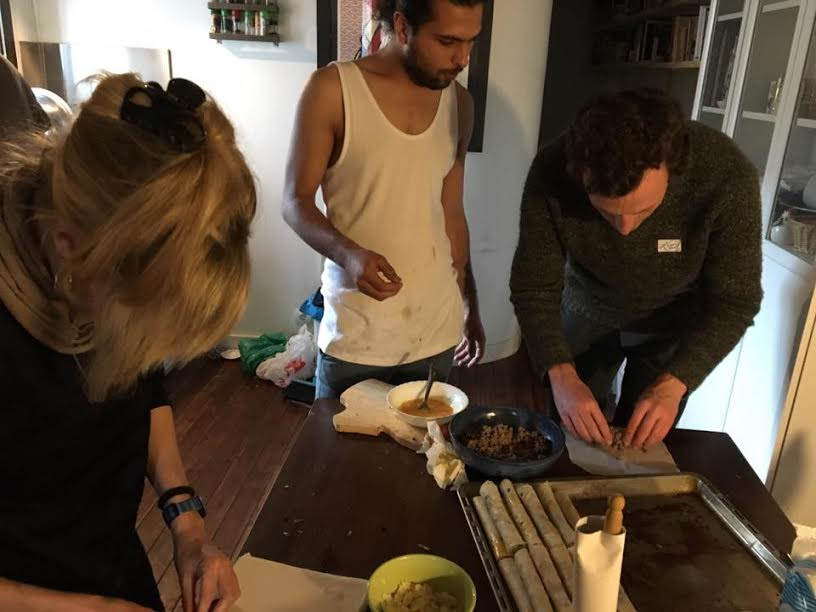 MFR team members helping to finish the Cheese and Vegetable Rollsteaks was quite the entertainment. In this photo, MFR Events Chair Noah Wanebo dives into the prep work and churns out the rolls. It was such an incredible learning and cultural experience for everyone.